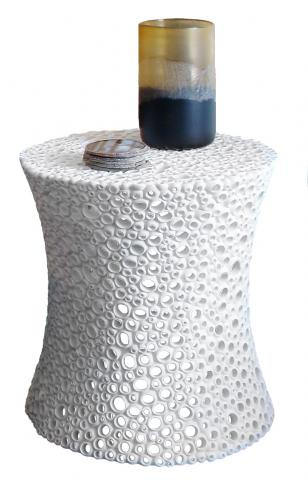 White Resin Coral Side Table